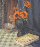 A still life with marigolds by Naude, Pieter Hugo