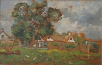 Farm with large trees by Wenning, Pieter Willem Frederick