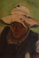 African woman in hat - Portrait of a woman by Oerder, Frans David