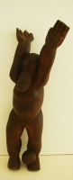 Wooden Sculpture/Man Playing Soccer by Hlungwani, Jackson
