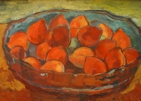 Peaches in a bowl by Krige, Francois