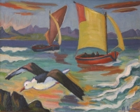 Seagull and fishing boat by Laubser, Maggie  (Maria Magdalena)