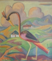 Bird in a landscape with huts by Laubser, Maggie  (Maria Magdalena)