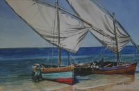 Dhows at shore II by Meyer, Denby