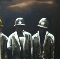 The Miners Painting by Nhlengethwa, Sam