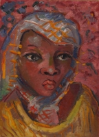 African woman - Portrait of Girl by Preller, Alexis