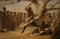 War dance of emigrant Zulus by Baines, Thomas