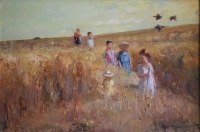 Children playing in the field by Boshoff, Adriaan Hendrik