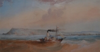 Natal from the sea - paddle tug pioneer off port natal by Bowler, Thomas William