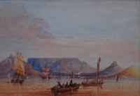 Table bay with fishing boat in the foreground by Bowler, Thomas William