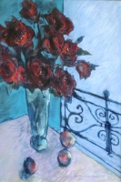 Blue interior with red roses by Jansen van vuuren, Louis