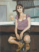 Young woman in a bistrot by Gietl, Karl