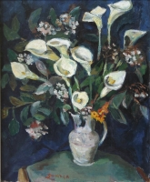 Arum lillies in a jug by Sumner, Maud Frances Eyston