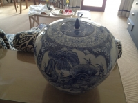 Chinese ginger jar with lid by Unknown