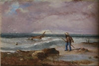 A shipwreck off the coast with Malay fisherman by Bowler, Thomas William