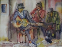 3 Men playing musical instruments by Ngatane, Ephraim Majalifa