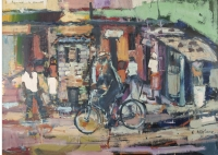 Man on bike in township by Ngatane, Ephraim Majalifa