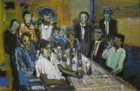 Men sitting at table drinking by Ngatane, Ephraim Majalifa
