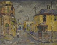 Street with lamp poles - District Six by Boonzaier, Gregoire Johannes