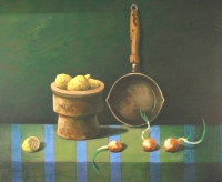 Still-life with onions and lemons  S.A by Jaroszynski, Tadeusz