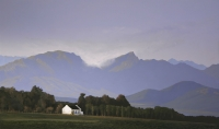 Farmhouse with mountains by Bonney, Peter