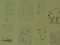 9 sketches - feet - flower - faces & streetlamp by Relly, Tamsin
