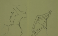 2 sketches - man with hat & back of chair by Relly, Tamsin