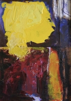 Abstract - lady with yellow face by Moutlou, Pat
