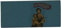 Mother & daughter on blue background with grey shape above them by Hanekom, Sandra