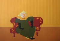 So - lady on red couch by Hodgins, Robert