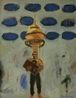Man holding bag in front of tall building by Hyslop, Diana