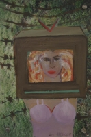 Woman with head in a tv by Hyslop, Diana