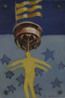 Yellow figure with pic of machine above head & 3 flags above that by Hyslop, Diana