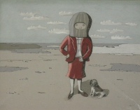Girl with mask on standing next to dog by Hattingh, Marna