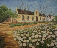 Old cape farm house with flowers in front by Nothard, Jenny