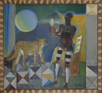 Bushman & cheetah with moon & mountains in background by Pinker, Stanley