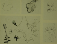 5 sketches - 2 faces - fruit & foot by Relly, Tamsin