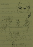 Sketches on exam pad paper - derrida drawing by Relly, Tamsin