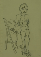 Lady sitting on edge of chair by Relly, Tamsin