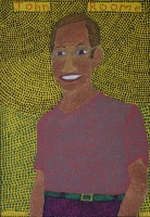 John Roome - man with glasses on yellow background by Zulu, Siphiwe