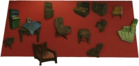 Different furniture on red background by Unknown