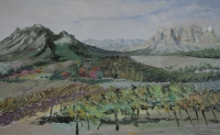 Mountains with fields & vineyards in front by Van Lingen, Gail