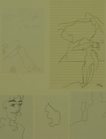 5 sketches - cat - wine glass - lady & crossed legs by Relly, Tamsin