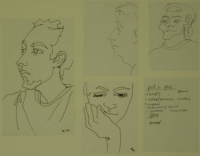 5 sketches - 4 faces & a shopping list by Relly, Tamsin
