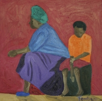 Seated black lady & young boy by Thembani, Shakes