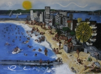 People on beach & in sea with ferris wheel, buildings & sun in background by Gietl, Karl
