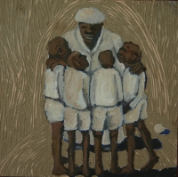 Old man talking to 4 young boys by Fulani, Ernest