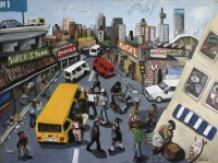 Joburg street scene - people, taxis buildings etc by Gietl, Karl