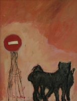 No entry sign & 2 black dogs by Hyslop, Diana