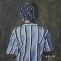 Man in blue & white shirt with back to us by Mhlongo, Sandile Anthony